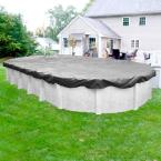 Platinum 18 ft. x 33 ft. Oval Silver Solid Above Ground Winter Pool Cover