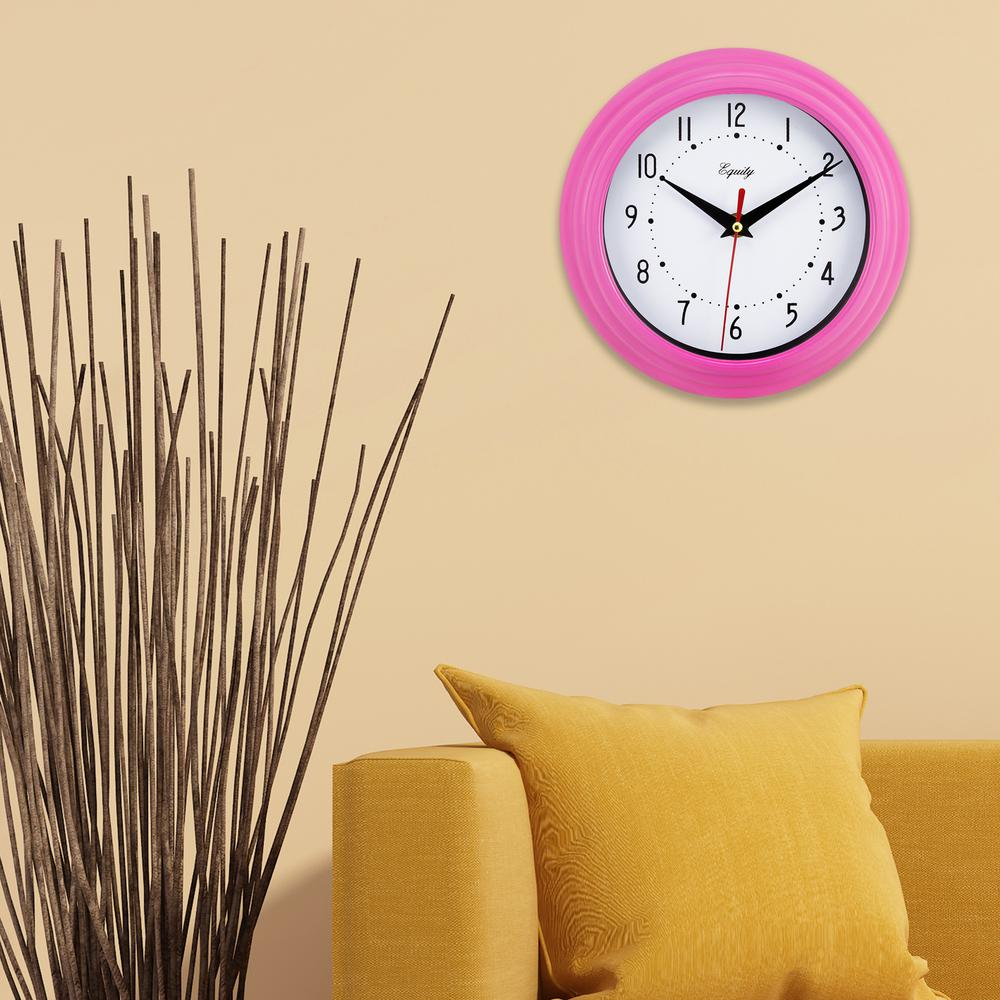 Equity by La Crosse 8 in. x 8 in. Round Pink Plastic Wall Clock