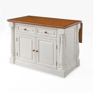 Home Styles Monarch White Kitchen Island With Drop Leaf-5020-94 ...