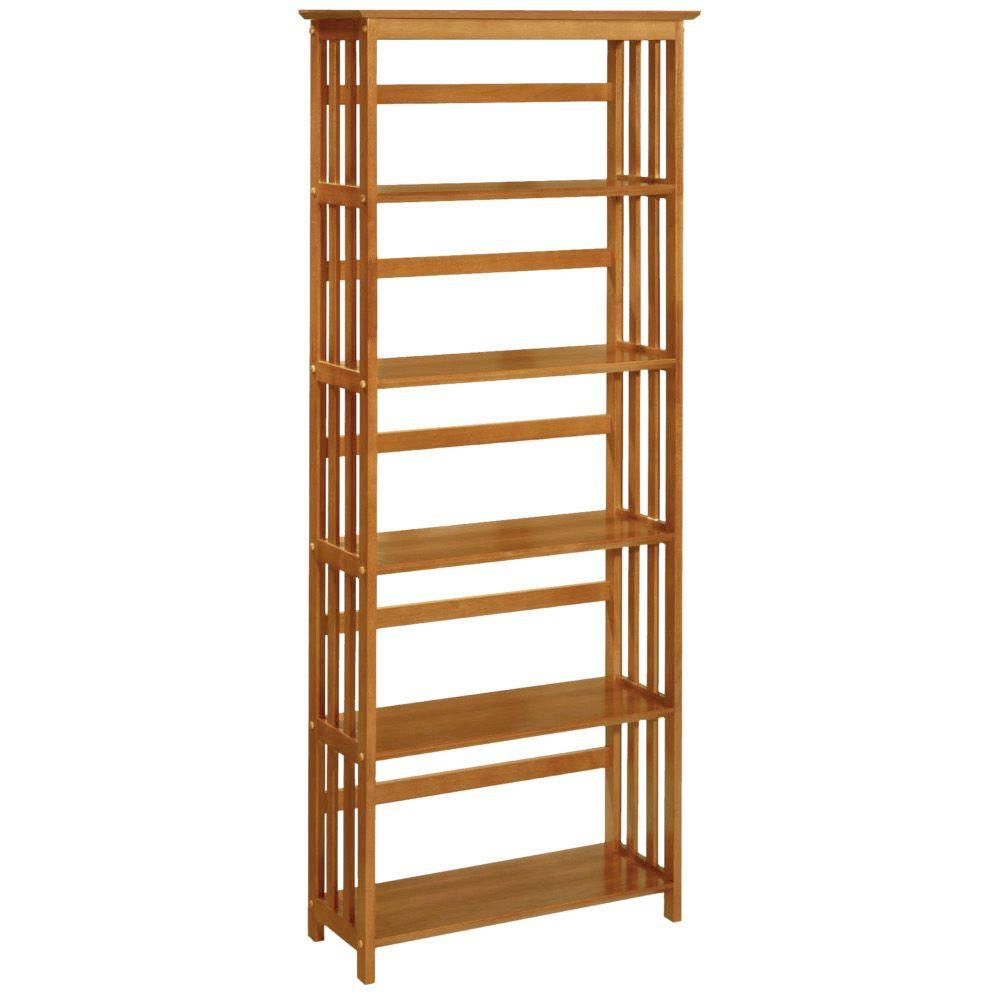 Home Decorators Collection 29.5 in. W Honey Oak Mission-Style 5-Shelf Bookcase