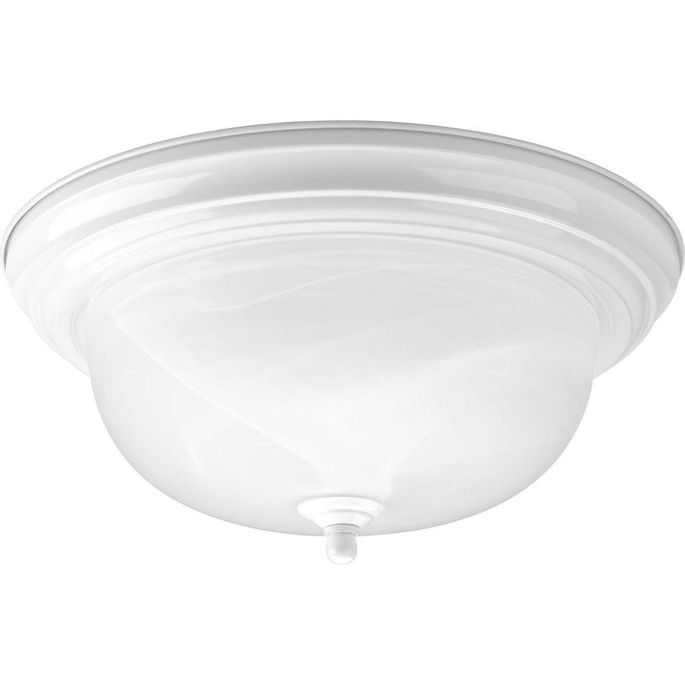 2-Light White Flushmount with Alabaster Glass