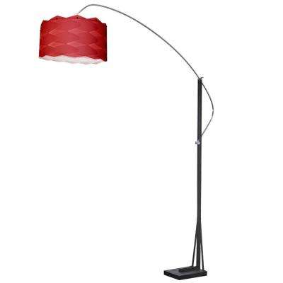 83 in. Polished Chrome Floor Lamp with Red Shade