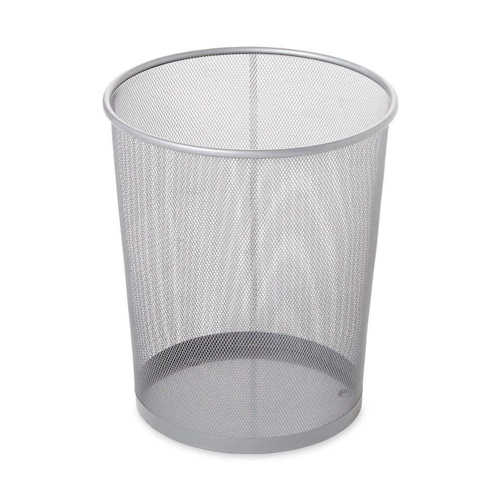 5 Gal. Round Mesh Trash Can in Silver
