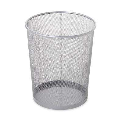 Gentil Round Mesh Trash Can In Silver