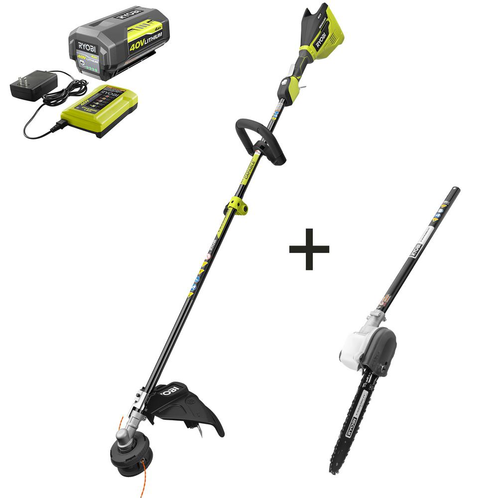 RYOBI 40-Volt Lithium-Ion Brushless Cordless Attachment Capable String Trimmer and Pruner 4.0 Ah Battery and Charger Included