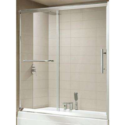 Sedona Premium 60 in. x 58 in. Framed Sliding Shower Door in Chrome with Tempered Clear Glass