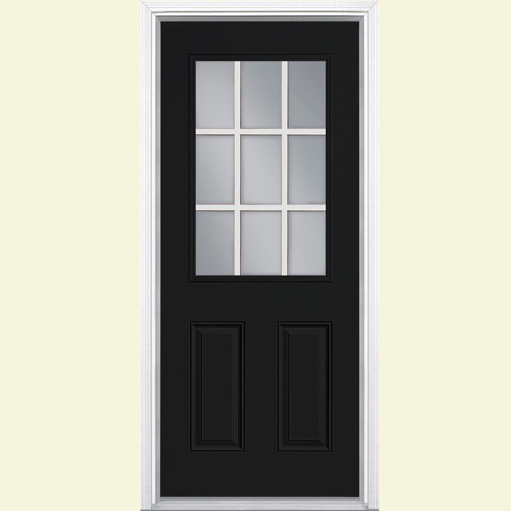 Delightful 9 Lite Primed Steel Prehung Front Door With No Brickmold