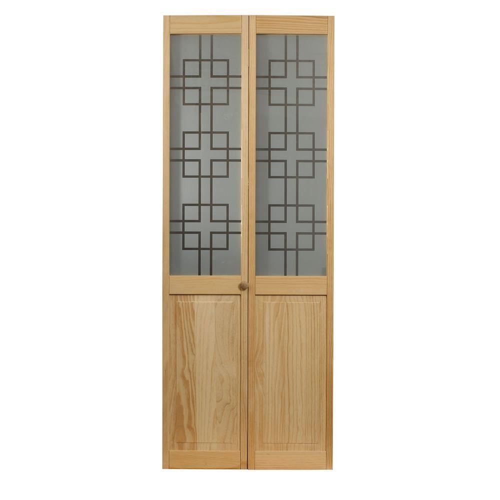 36 in. x 80 in. Geometric Glass Over Raised Panel Pine Interior Bi-fold Door