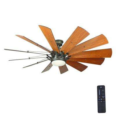Trudeau 60 in. LED Indoor Espresso Bronze Ceiling Fan  with Light Kit and Remote Control