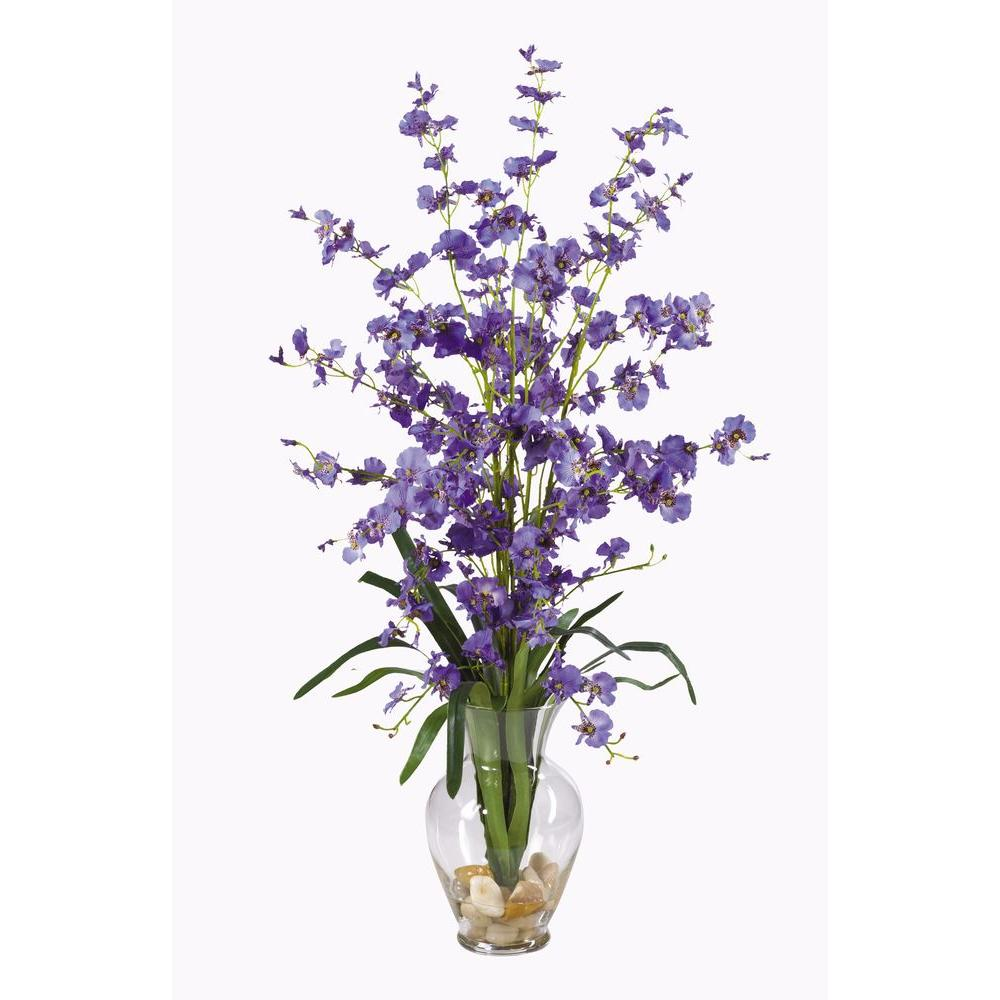 Nearly Natural 31 in. Dancing Lady Silk Flower Arrangement The multitude of purple blooms in the Nearly Natural 31 in. Dancing Lady Silk Flower Arrangement adds natural elegance to your home or office. Accented with gorgeous green leaves, lifelike water and river rocks, this lovely arrangement features soft silk petals for an authentic look. Its 31 in. height is great for a variety of spaces.