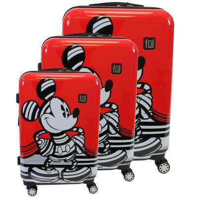 Striped Mickey Mouse Hard Sided 29 in., 25 in., and 21 in. Red Luggage Suitcases