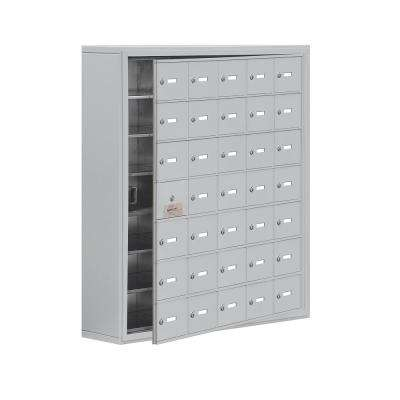 19100 Series 37 in. W x 42 in. H x 9.25 in. D 34 Doors Cell Phone Locker Surface Mount Keyed Lock in Aluminum
