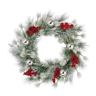 24 in. D Frosted Pine Wreath with Silver Balls and Berries