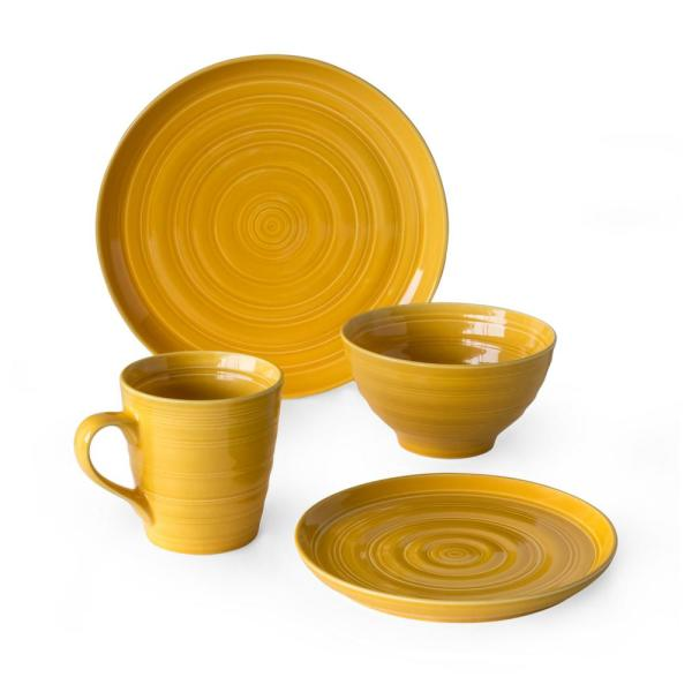 Loop 16-Piece Yellow Dinnerware Set