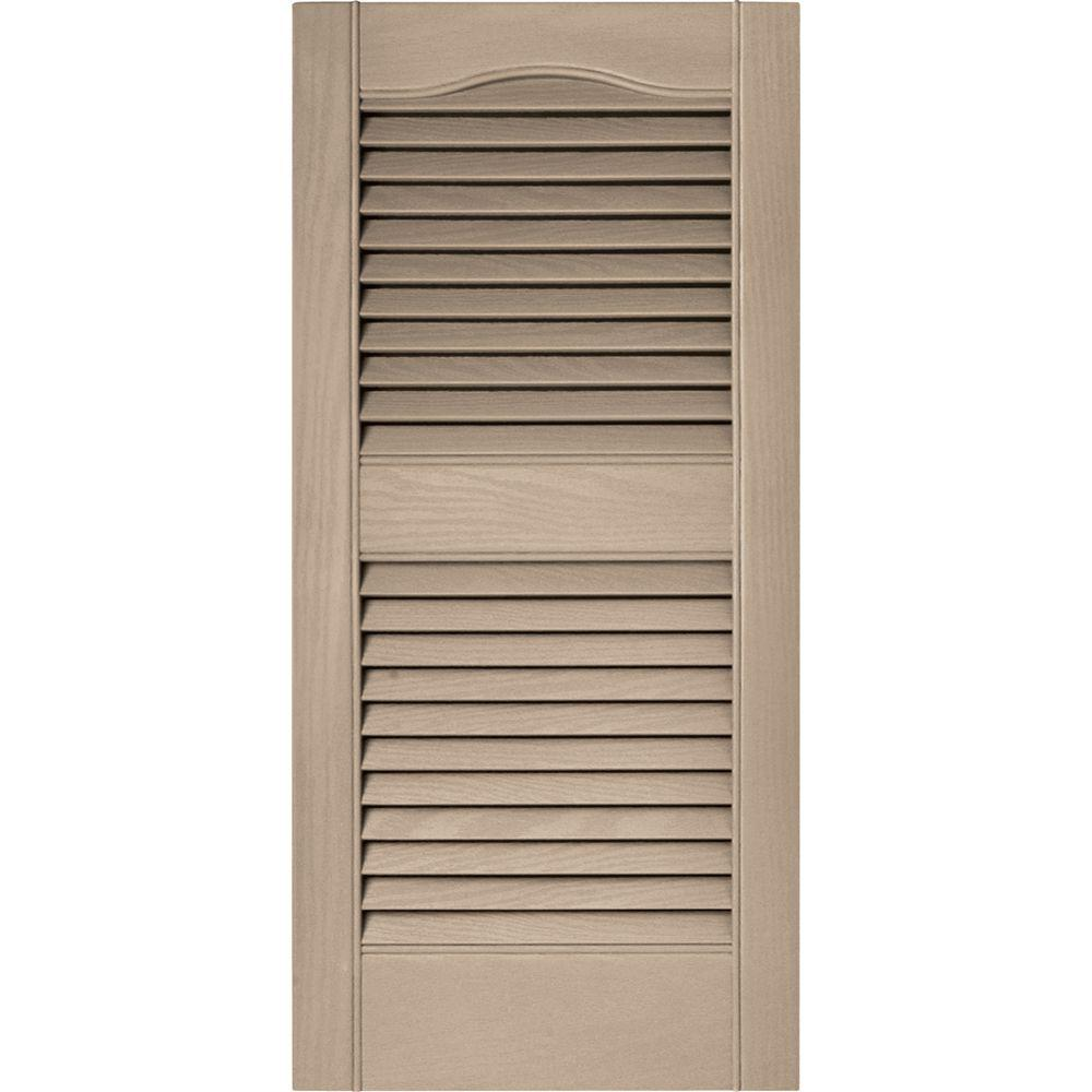 Builders edge 15 in x 31 in louvered vinyl exterior - Paintable louvered vinyl exterior shutters ...