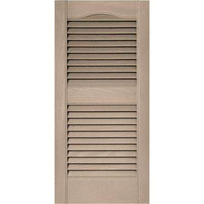 15 in. x 31 in. Louvered Vinyl Exterior Shutters Pair in #023 Wicker