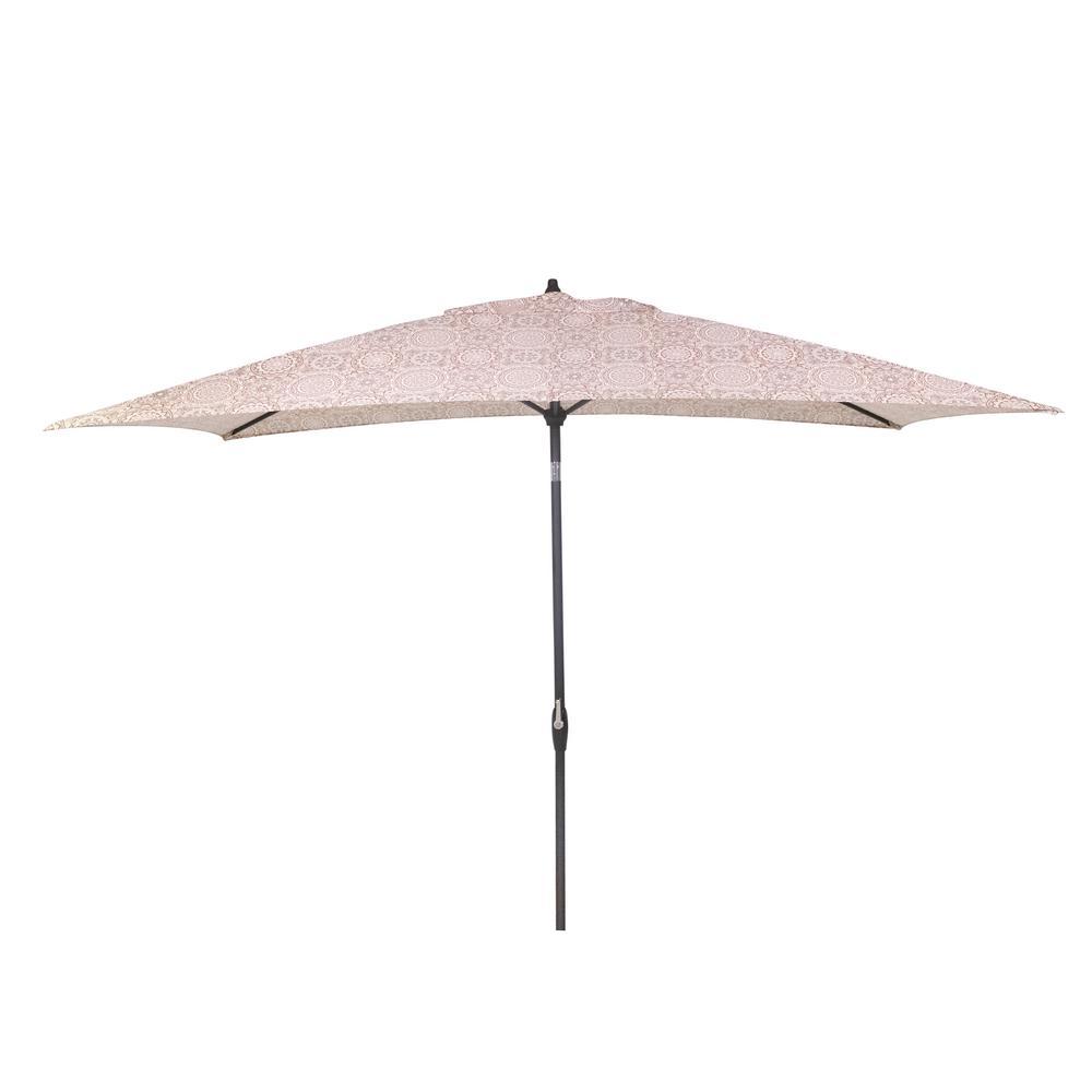 10 ft. x 6 ft. Aluminum Market Patio Umbrella in Patnos Small Riverbed