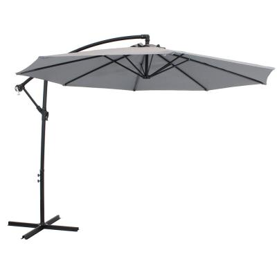 9.5 ft. Steel Cantilever Offset Outdoor Patio Umbrella with Crank in Smoke