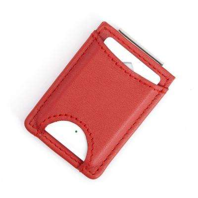 Leather Bluetooth Tracking Wallet Tag Device Inside Slim Genuine Leather Money Clip Wallet
