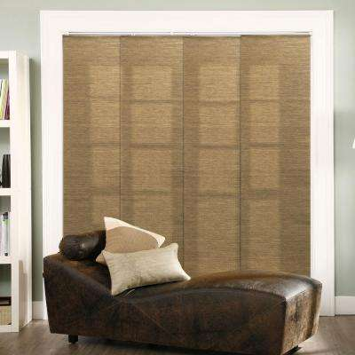 Adjustable Sliding Panel / Cut to Length, Curtain Drape Vertical Blind, Natural Woven, Privacy - Lattice Latte