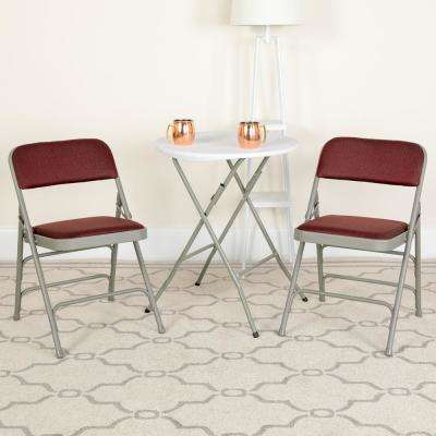 Hercules Series Curved Triple Braced & Double Hinged Burgundy Patterned Fabric Upholstered Metal Folding Chair