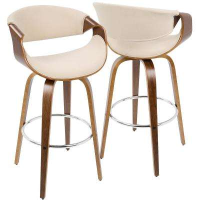 Curvini Walnut and Cream Swivel Seat Barstool