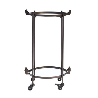 Home Decorators Collection Oil Rubbed Bronze Metal Rolling Bar Cart with Mirrored Tray Shelves (20 in. W x 33 in. H)