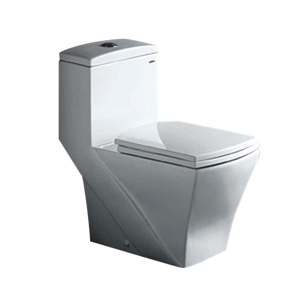Fresca Salerno 1-Piece Dual-Flush Elongated Toilet in White-DISCONTINUED
