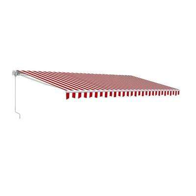 13 ft. Manual Patio Retractable Awning (120 in. Projection) in Red And White Stripes