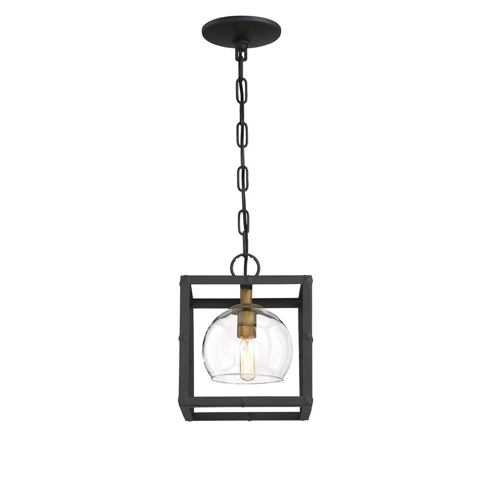 Bentley Collection 1-Light Black and Gold Pendant