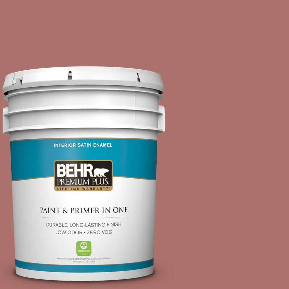BEHR Premium Plus 5 gal. #S160-5 Hot Chili Satin Enamel Zero VOC Interior Paint and Primer in One
