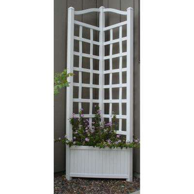 80 in. x 21 in. x 21 in. White Vinyl PVC Oxford Planter Trellis