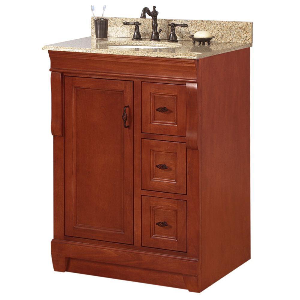 Naples 25 in. W x 22 in. D Bath Vanity in Warm Cinnamon with Granite Vanity Top in Beige