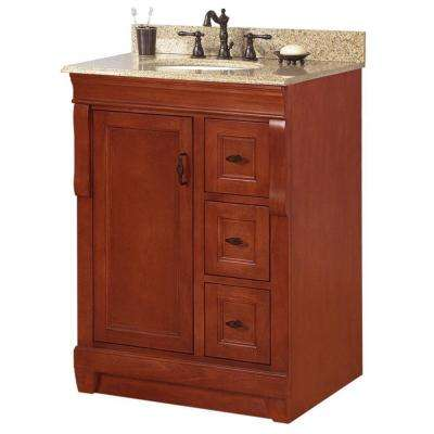 Naples 25 in. W x 22 in. D Bath Vanity in Warm Cinnamon with Granite Vanity Top in Beige