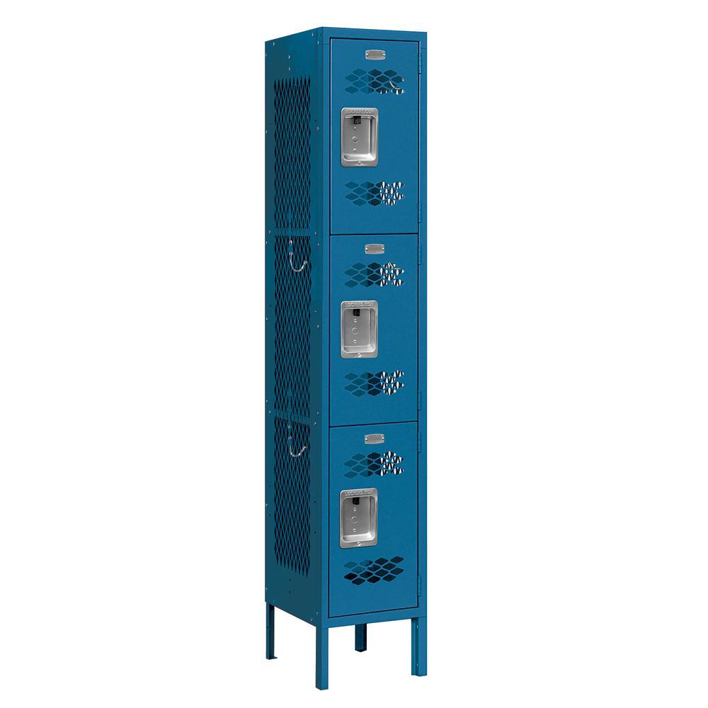 73000 Series 3-Tier 12 in. W x 66 in. H x 12 in. D Vented Metal Locker Assembled in Blue