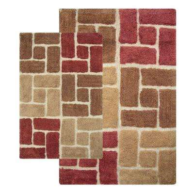 Berkeley 21 in. x 34 in. and 24 in. x 40 in. 2-Piece Bath Rug Set in Adobe