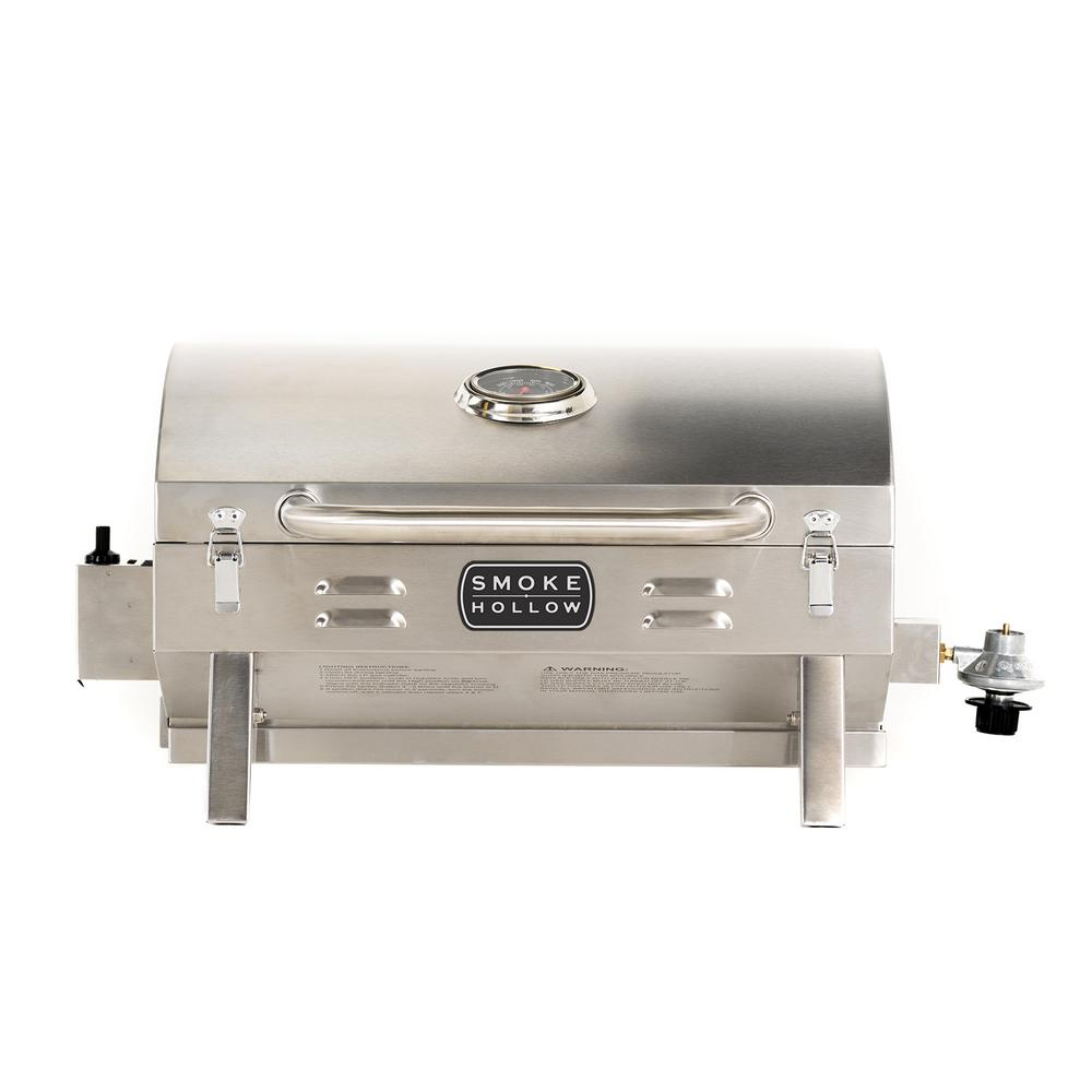 Smoke Hollow PT300B Portable Propane Tabletop Grill in Stainless, Stainless-Steel The Smoke Hollow Propane Tabletop Grill is built for BBQ-grillers on the go and perfect for camping, tailgating, picnics or any outdoor use. The compact design with locking lid, folding legs and a large front carry handle makes this grill very portable and easy to transport or store. The grill operates on small, disposable, 1 lb. propane cylinders (not included), which are available nationwide as a common camping accessory item. The long-lasting stainless steel construction allows you to experience outdoor cooking wherever you enjoy it most. Color: Stainless-Steel.