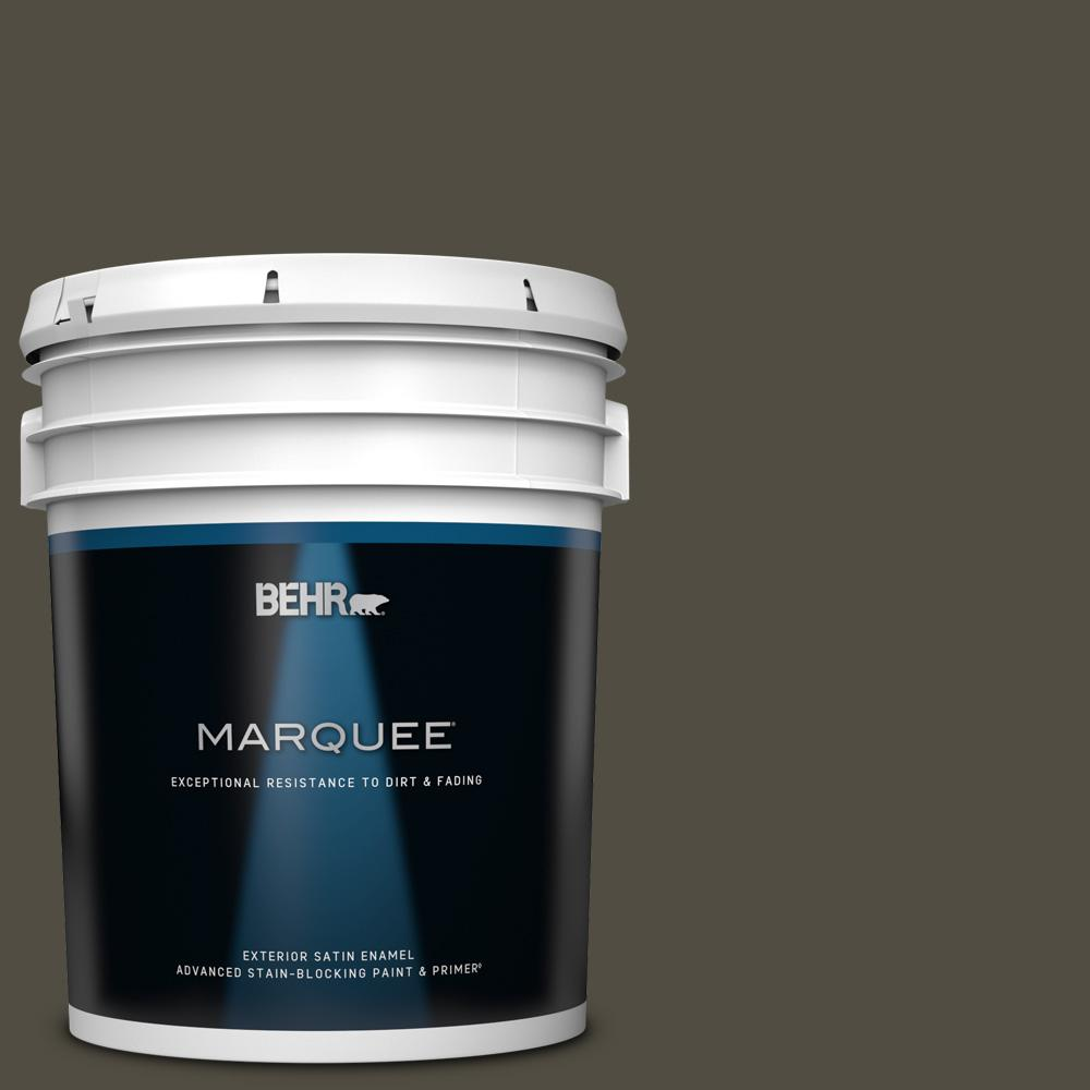 Behr Marquee 5 Gal S H 760 Olive Leaf Satin Enamel Exterior Paint And Primer In One 945305 The Home Depot