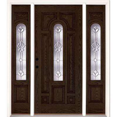 67.5 in.x81.625 in. Medina Zinc Center Arch Lt Stained Walnut Oak Right-Hand Fiberglass Prehung Front Door w/ Sidelites
