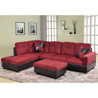 Red Left Chaise Sectional with Storage Ottoman
