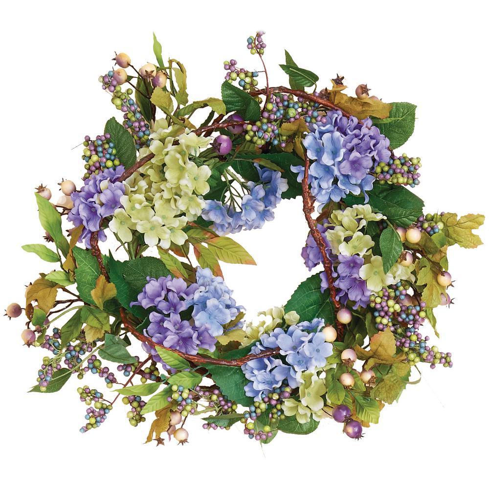 22 in. Blue Hydrangea Wreath
