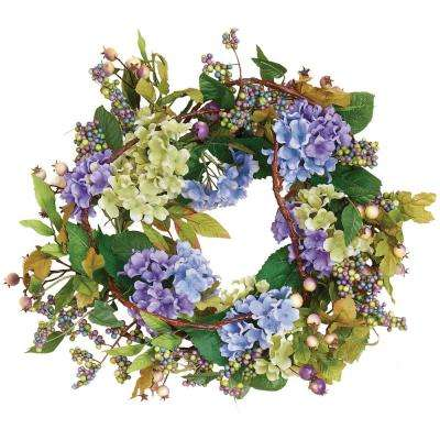 22 in. Blue Hydrangea Wreath