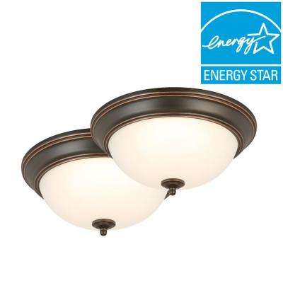 13 in. 180-Watt Equivalent Oil-Rubbed Bronze Integrated LED Flushmount with Frosted Glass Shade (2-Pack)