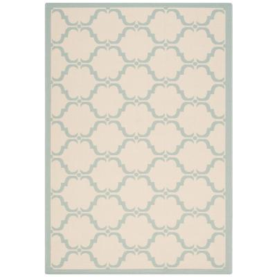 Courtyard Beige/Aqua 5 ft. x 8 ft. Indoor/Outdoor Area Rug