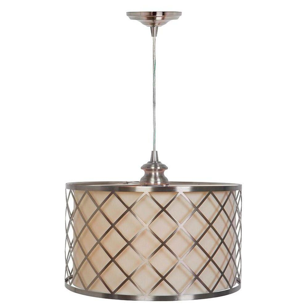 Paula 1-Light Hardwire Brushed Nickel Pendant with White/Nickel Shade