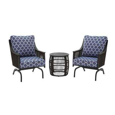 Bayhurst  Black 3-Piece Wicker Outdoor Patio Motion Seating Set with CushionGuard Midnight Trellis Navy Blue Cushions