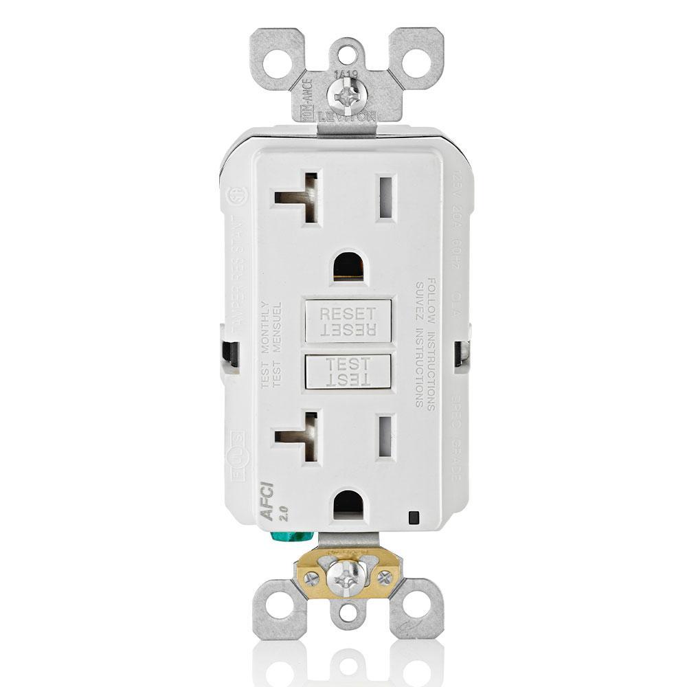 Leviton 20 Amp Afci Tamper Resistant Duplex Outlet  White-r12-aftr2-0kw