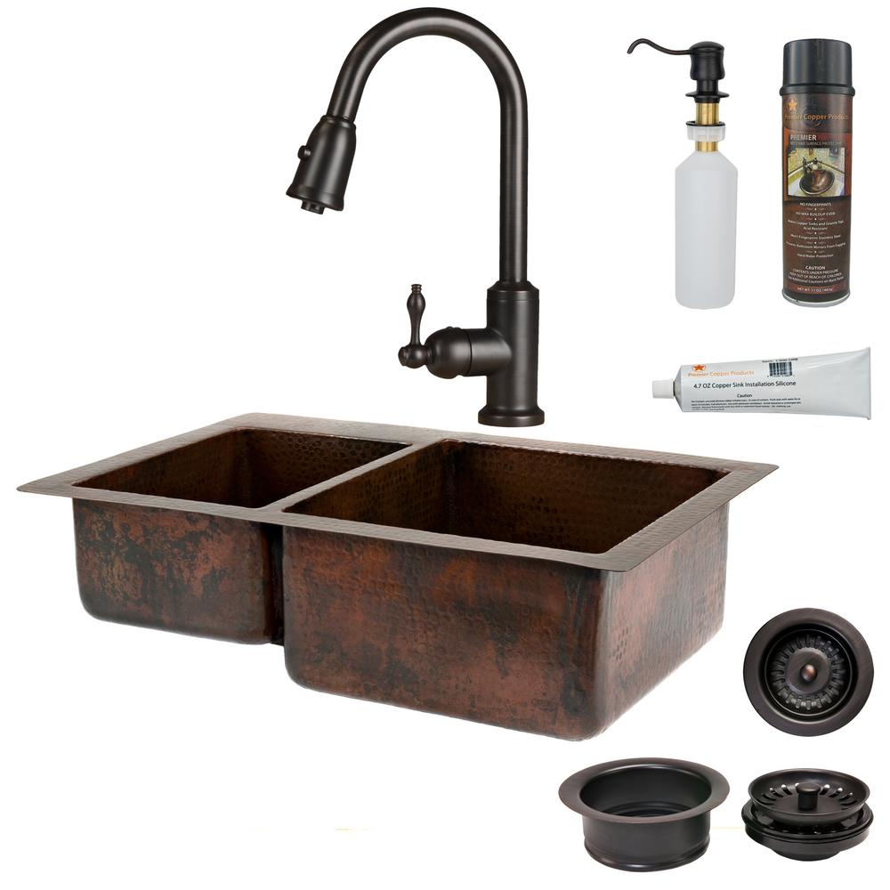 Premier Copper Products All-in-One Undermount Hammered Copper 33 in. 0-Hole Double Bowl Kitchen Sink in Oil Rubbed Bronze
