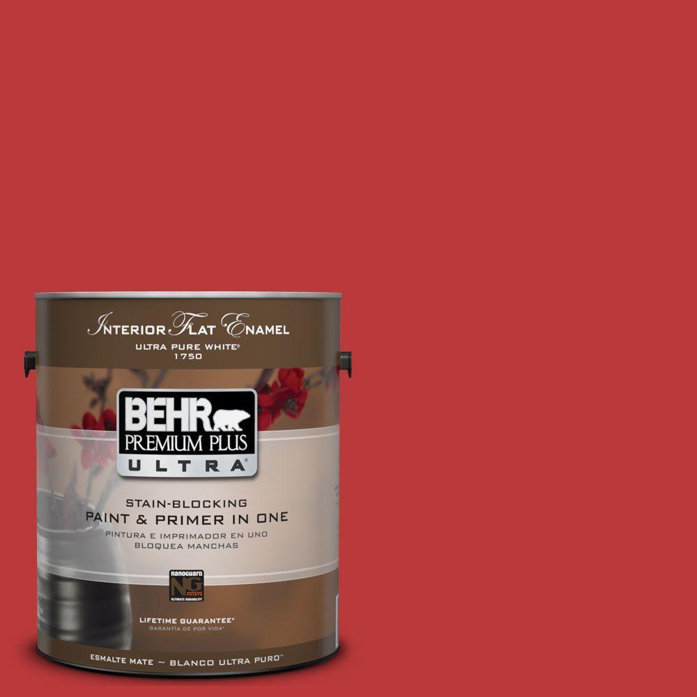 BEHR Premium Plus Ultra 1-gal. #UL110-7 Edgy Red Interior Flat Enamel Paint