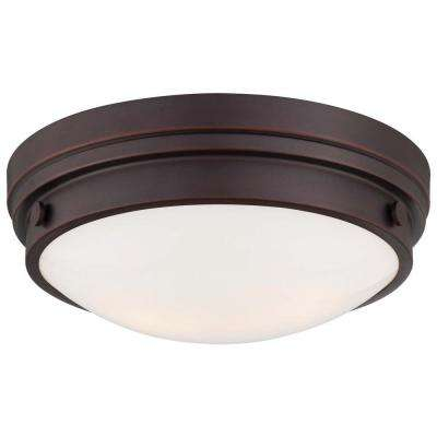 2-Light Lathan Bronze Flushmount